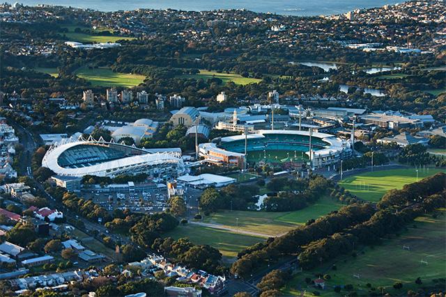 Aerial of Sydney Cricket Ground SCG at dawn, Ethan Rohloff for Destination NSW