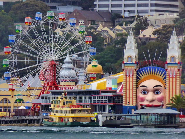Photograph across Sydney Harbour of Luna Park Sydney