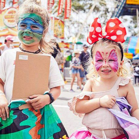 Children with face paint at Sydney Royal Easter Show